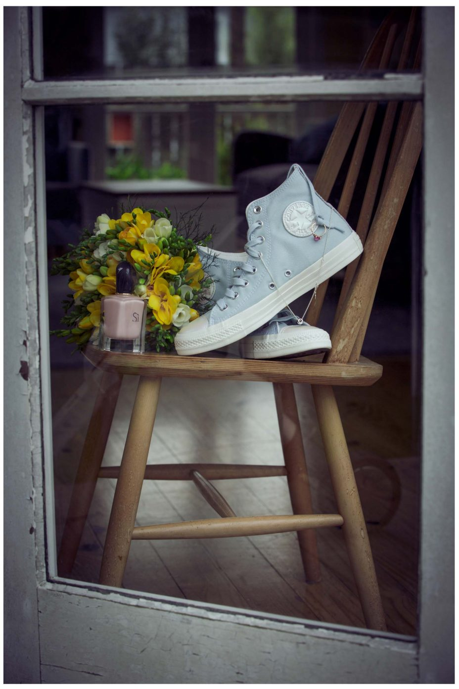 Converse High top baby blue wedding shoes