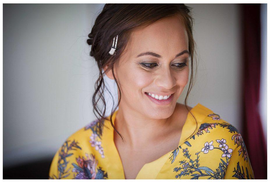 photo of bride getting ready, Lichfields Cottages, Kumeu