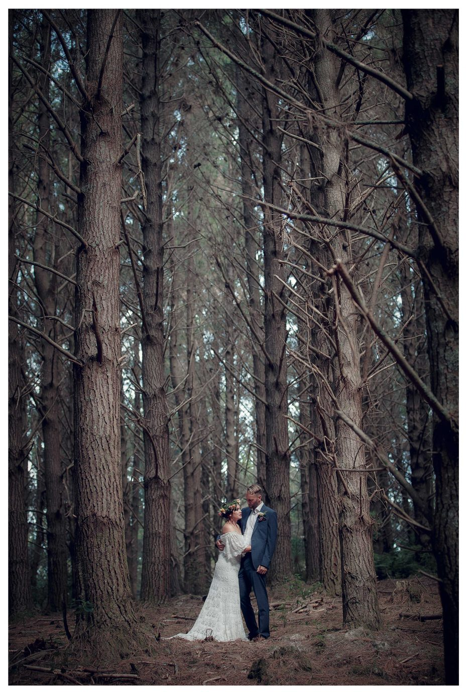 Bridal creative location weding photo, Bride and groom amoung huge trees, Riverhead Forrest wedding photo, Kumeu Valley