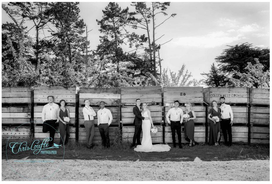Wedding party pose by fruit crates, Kumeu Orchard