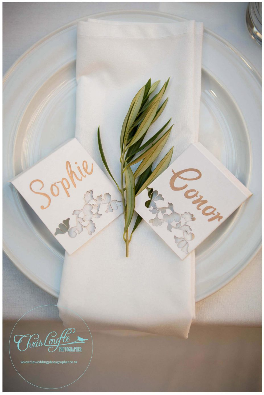 Kumeu Valley Estate wedding reception , bride and groom name cards