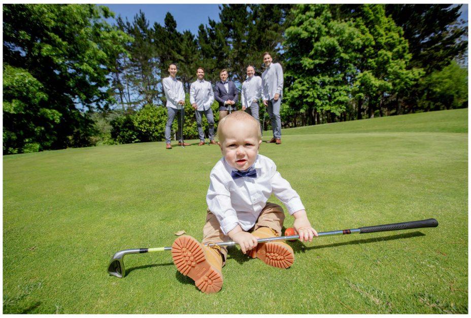Baby page boy with golf club, Northridege Estate wedding