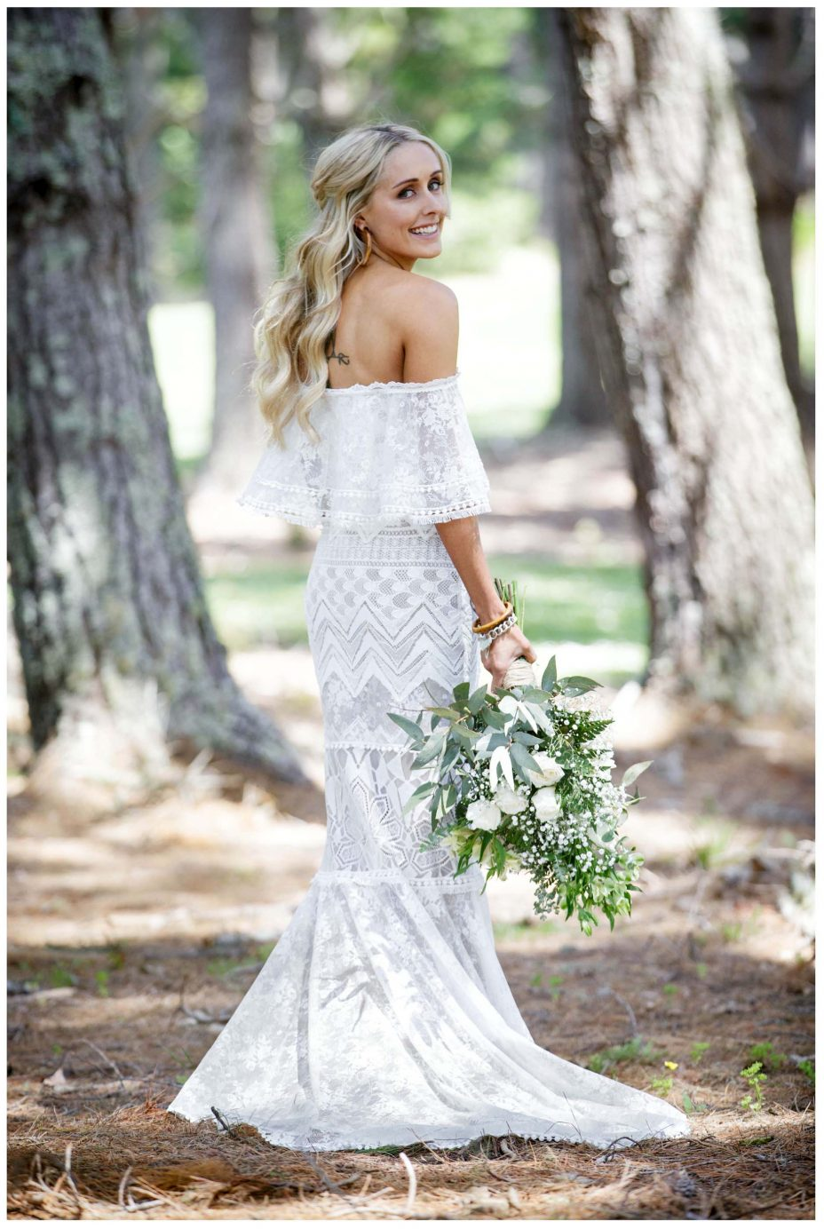 Australian Bride in lace white wedding dress with waterfall flower bouquet, Leaf and Honey flowers, Northridege Country Estate Wedding Murawai Beech