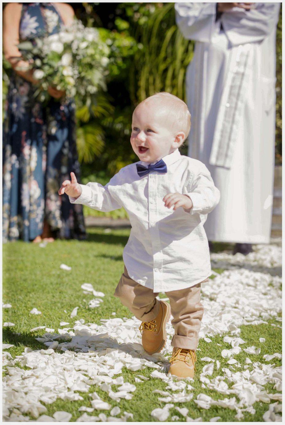 Cute baby pageboy in bow tie
