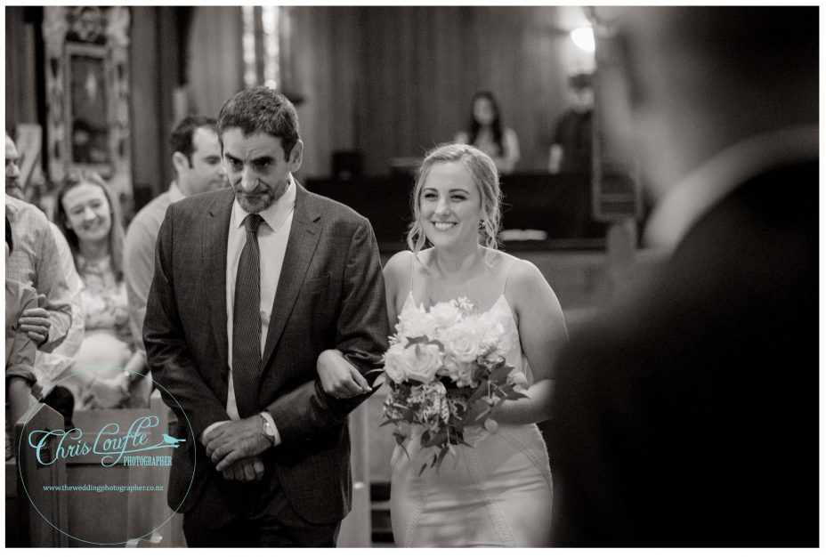 Bride and father procession , St Aiden's Church, Remuera, Wedding