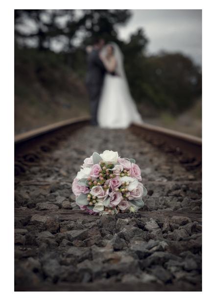 Bridal bouquet on disused railway line in Kumeu
