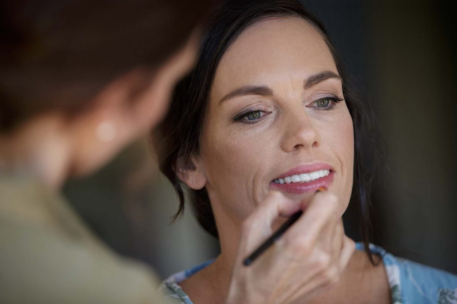 Brie has lip liner makeup applied