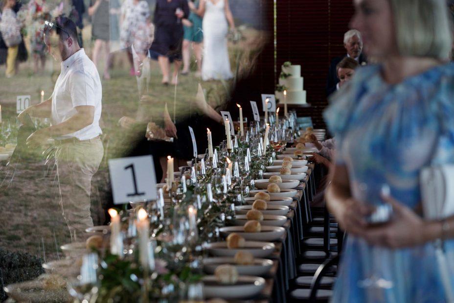 Wedding tables set up at KBB Kauri Bay Boomrock