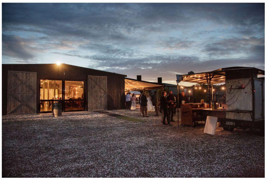 The Barn wedding reception at The Hunting Lodge Winery at dusk
