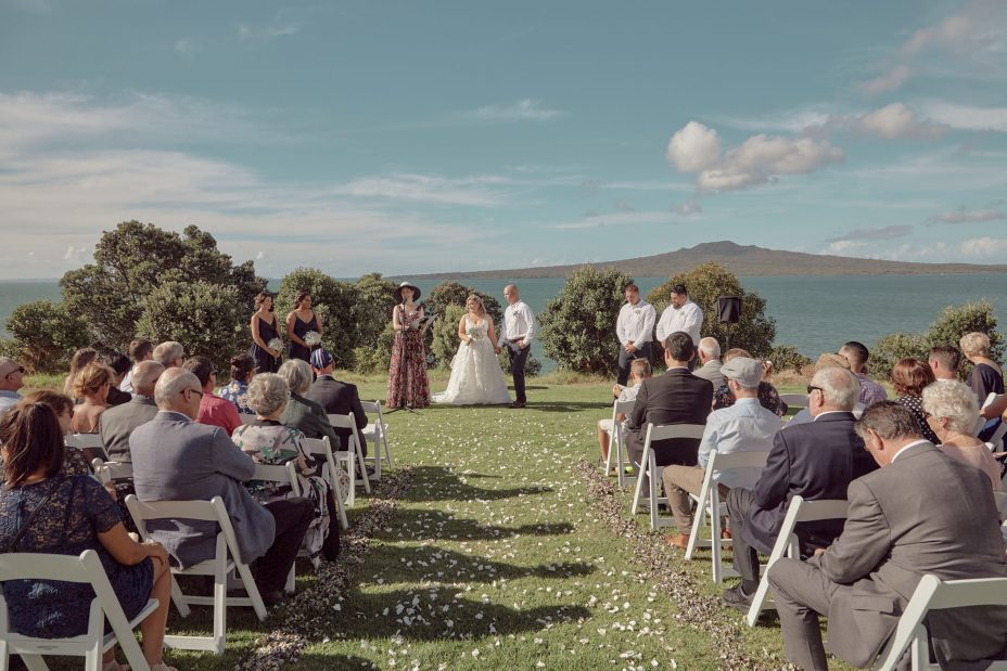 Wedding ceremony at fort takapuna Auckland