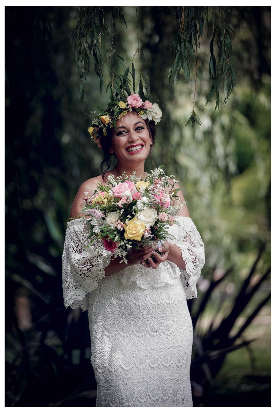 Bride with flower crown, Leaf and Honey flowers, flower bouquet, Kumeu garden, wedding